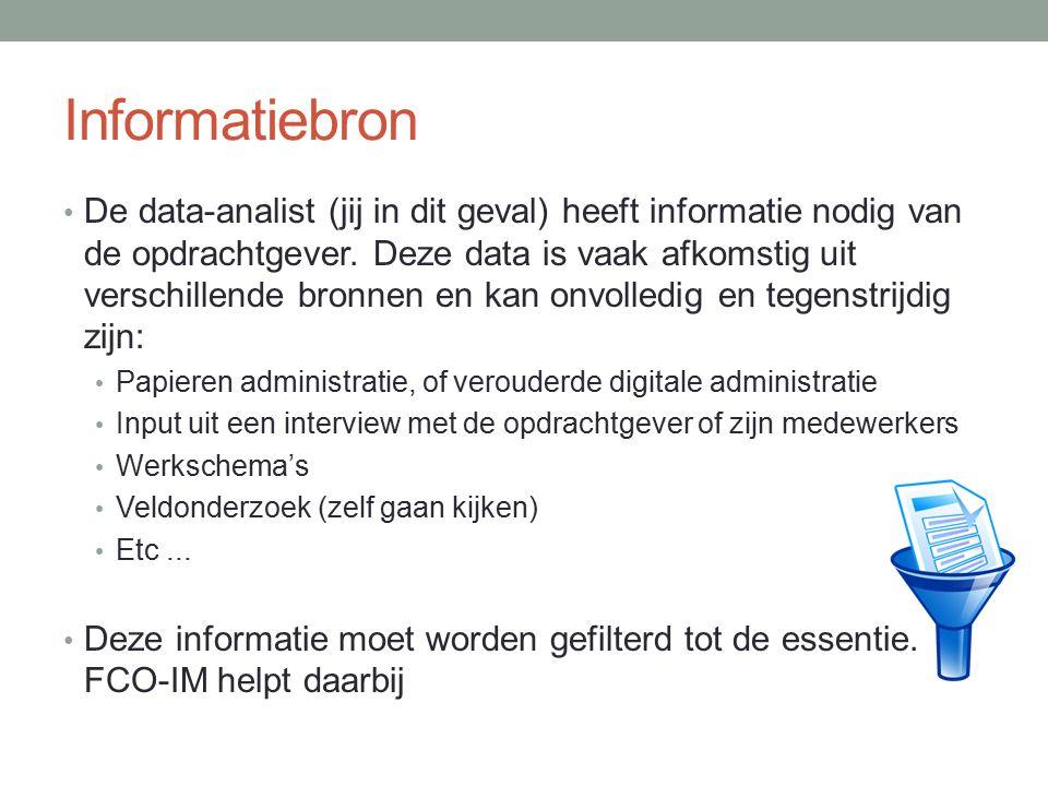 Informatiebron De data-analist (jij in dit geval) heeft informatie nodig van de opdrachtgever. Deze data is vaak afkomstig uit verschillende bronnen e
