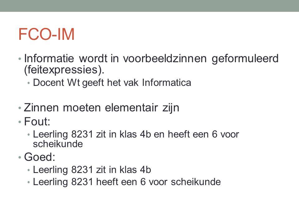 FCO-IM Informatie wordt in voorbeeldzinnen geformuleerd (feitexpressies).