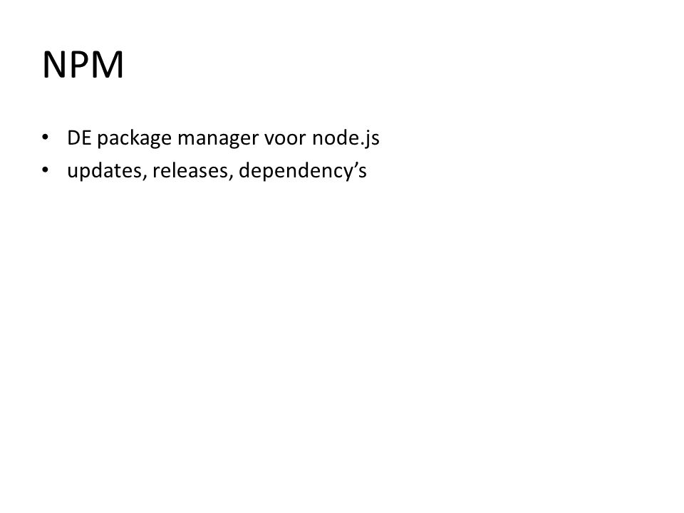 NPM DE package manager voor node.js updates, releases, dependency's