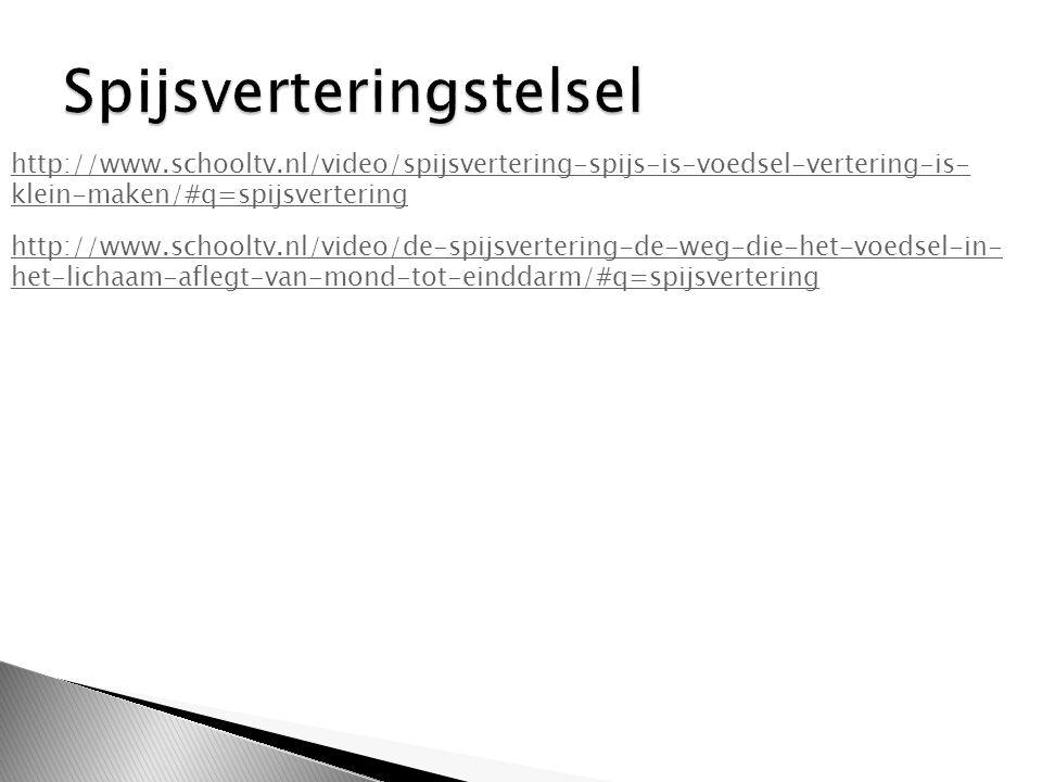 http://www.schooltv.nl/video/spijsvertering-spijs-is-voedsel-vertering-is- klein-maken/#q=spijsvertering http://www.schooltv.nl/video/de-spijsvertering-de-weg-die-het-voedsel-in- het-lichaam-aflegt-van-mond-tot-einddarm/#q=spijsvertering