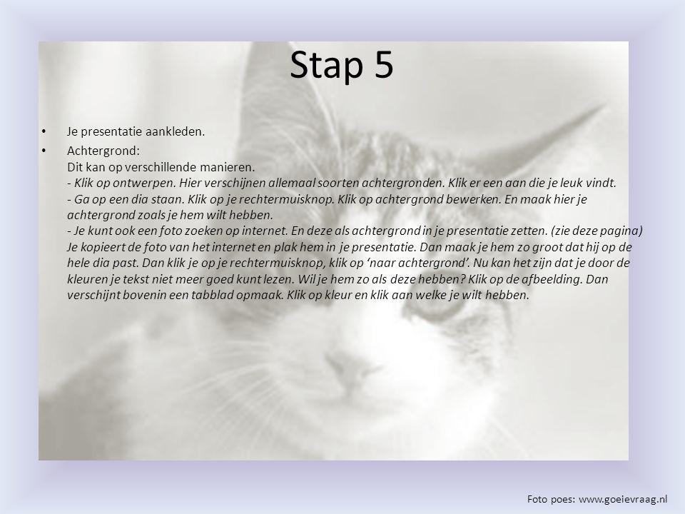 Stap 5 Je presentatie aankleden. Achtergrond: Dit kan op verschillende manieren. - Klik op ontwerpen. Hier verschijnen allemaal soorten achtergronden.