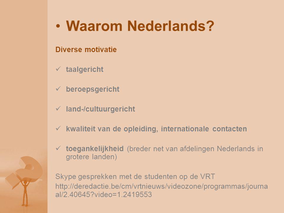 Waarom Nederlands? Diverse motivatie taalgericht beroepsgericht land-/cultuurgericht kwaliteit van de opleiding, internationale contacten toegankelijk
