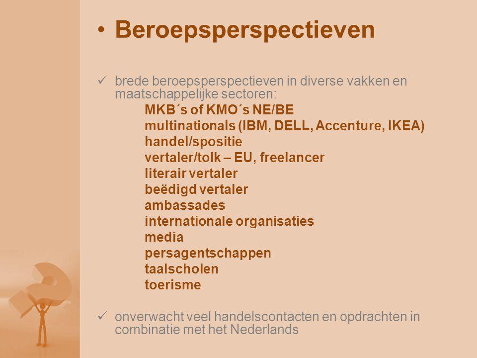 Beroepsperspectieven brede beroepsperspectieven in diverse vakken en maatschappelijke sectoren: MKB´s of KMO´s NE/BE multinationals (IBM, DELL, Accent