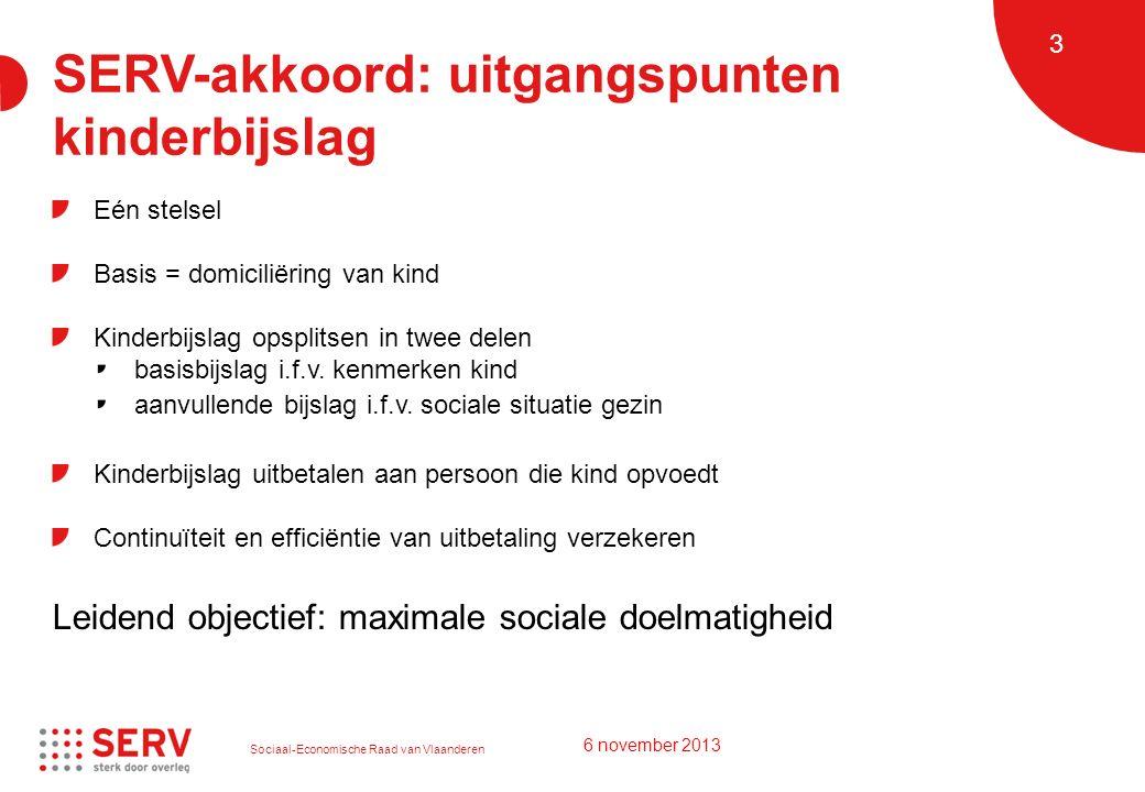 Sociaal-Economische Raad van Vlaanderen 3 SERV-akkoord: uitgangspunten kinderbijslag Eén stelsel Basis = domiciliëring van kind Kinderbijslag opsplitsen in twee delen basisbijslag i.f.v.