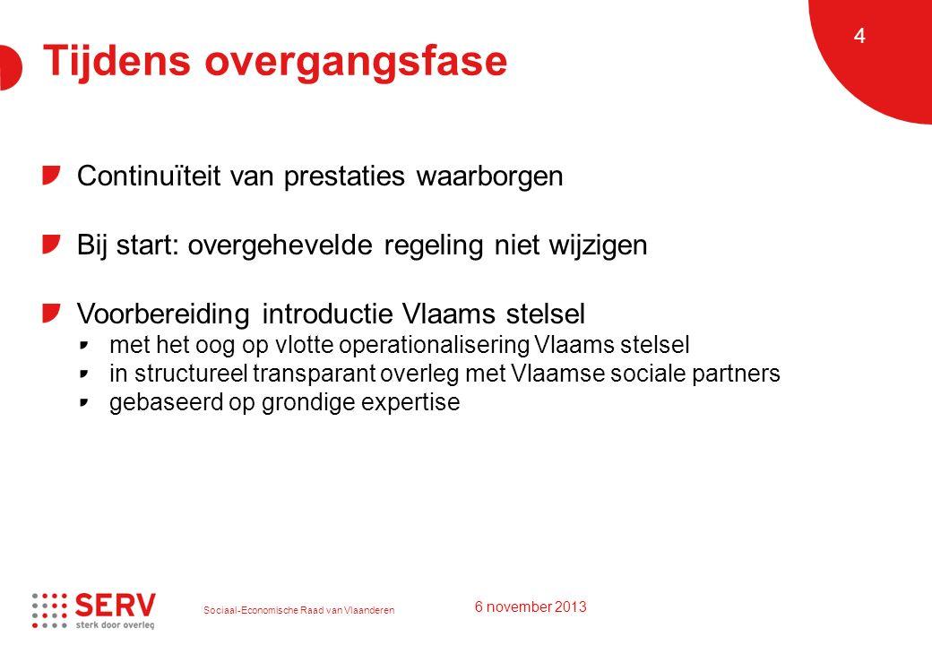 Sociaal-Economische Raad van Vlaanderen 4 Tijdens overgangsfase Continuïteit van prestaties waarborgen Bij start: overgehevelde regeling niet wijzigen