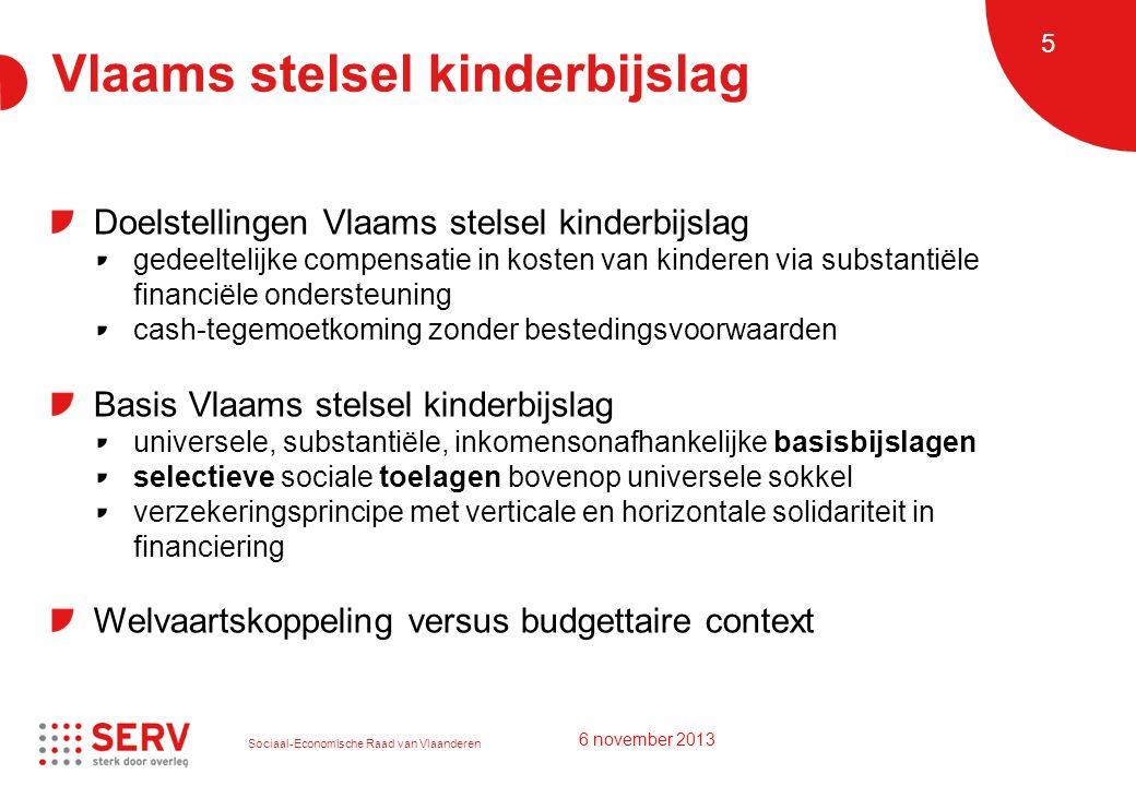 Sociaal-Economische Raad van Vlaanderen 5 Vlaams stelsel kinderbijslag Doelstellingen Vlaams stelsel kinderbijslag gedeeltelijke compensatie in kosten