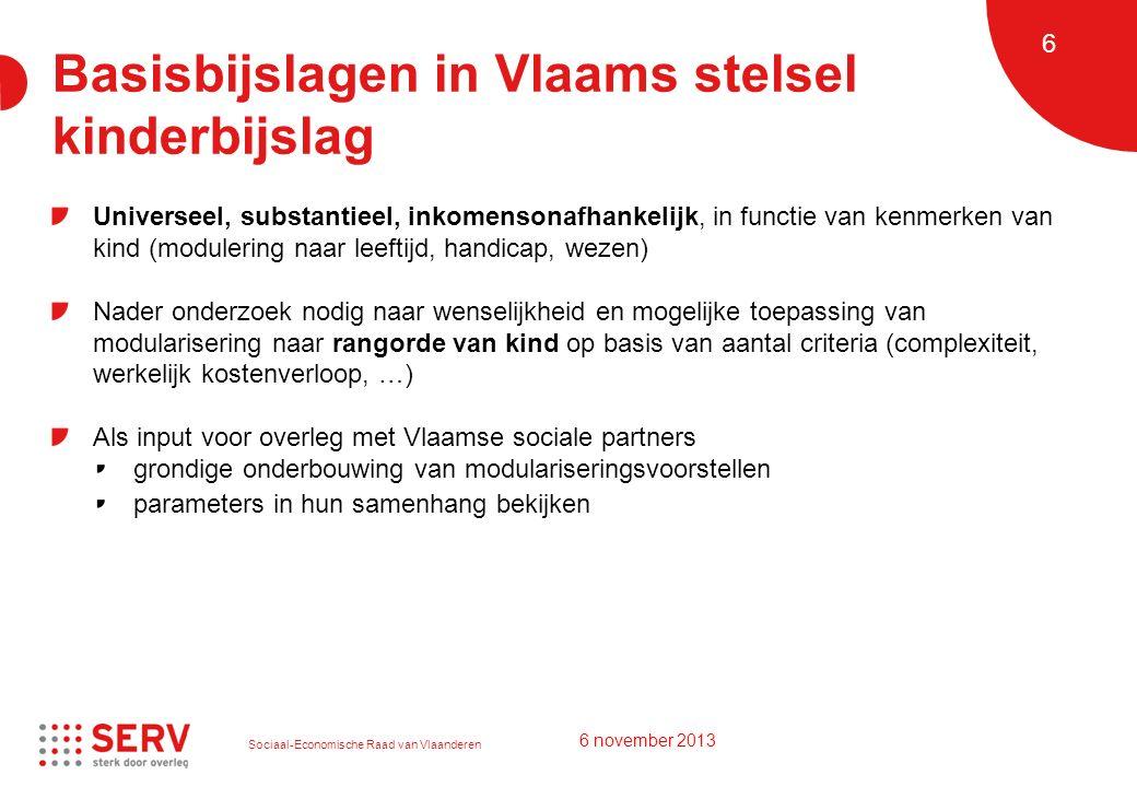 Sociaal-Economische Raad van Vlaanderen 6 Basisbijslagen in Vlaams stelsel kinderbijslag Universeel, substantieel, inkomensonafhankelijk, in functie v