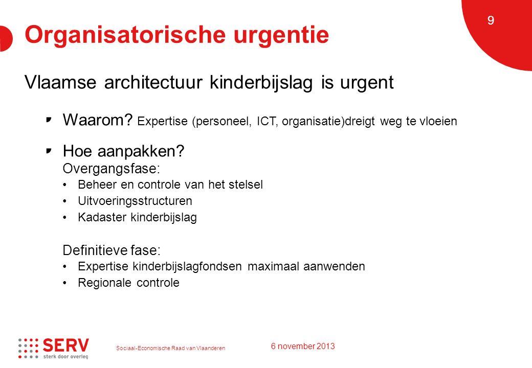 Sociaal-Economische Raad van Vlaanderen 9 Organisatorische urgentie Vlaamse architectuur kinderbijslag is urgent Waarom? Expertise (personeel, ICT, or