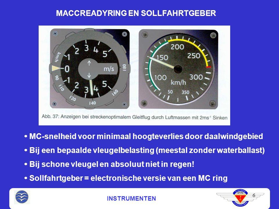 INSTRUMENTEN MACCREADYRING EN SOLLFAHRTGEBER 6  MC-snelheid voor minimaal hoogteverlies door daalwindgebied  Bij een bepaalde vleugelbelasting (meestal zonder waterballast)  Bij schone vleugel en absoluut niet in regen.