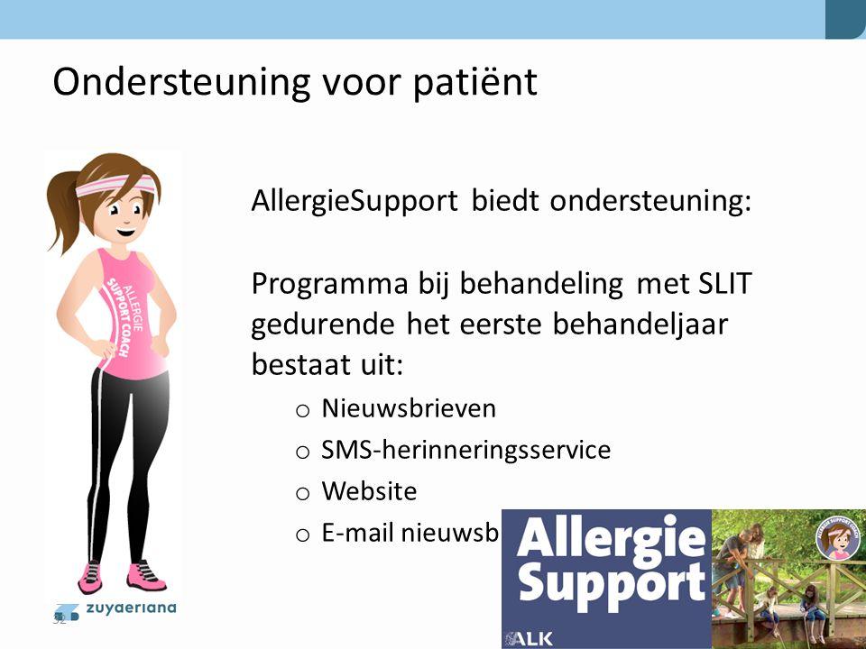 Ondersteuning voor patiënt AllergieSupport biedt ondersteuning: Programma bij behandeling met SLIT gedurende het eerste behandeljaar bestaat uit: o Ni
