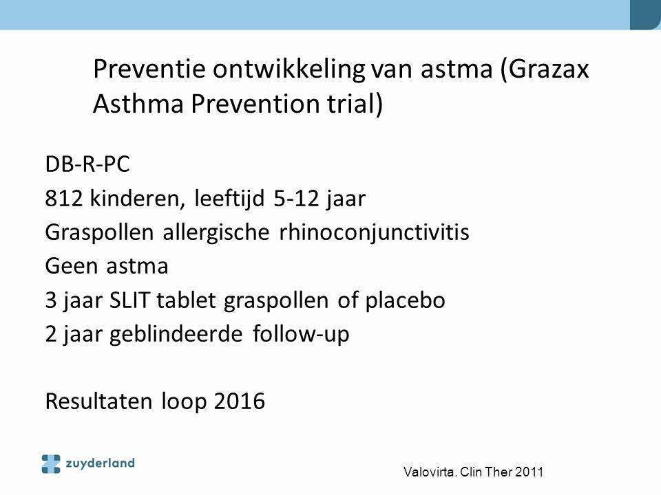 Preventie ontwikkeling van astma (Grazax Asthma Prevention trial) DB-R-PC 812 kinderen, leeftijd 5-12 jaar Graspollen allergische rhinoconjunctivitis
