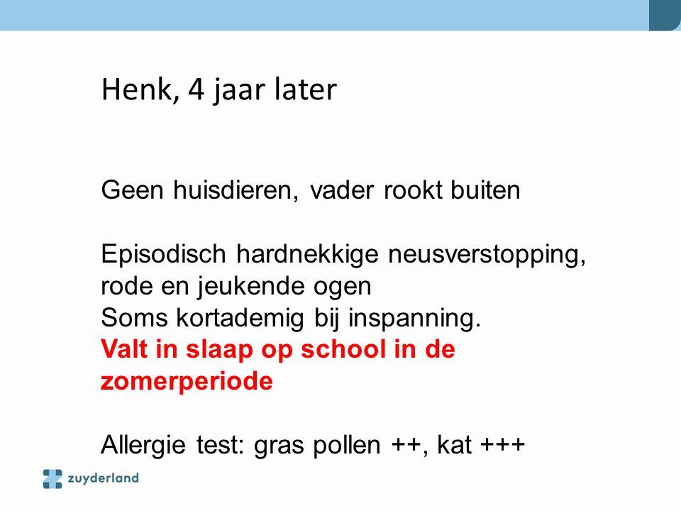Henk, 4 jaar later Geen huisdieren, vader rookt buiten Episodisch hardnekkige neusverstopping, rode en jeukende ogen Soms kortademig bij inspanning. V