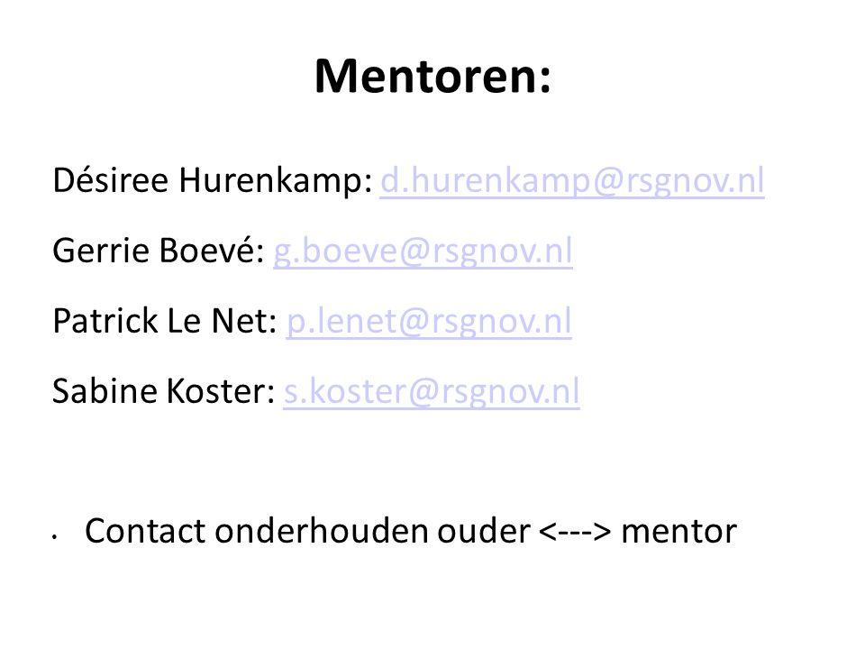 Mentoren: Désiree Hurenkamp: d.hurenkamp@rsgnov.nld.hurenkamp@rsgnov.nl Gerrie Boevé: g.boeve@rsgnov.nlg.boeve@rsgnov.nl Patrick Le Net: p.lenet@rsgnov.nlp.lenet@rsgnov.nl Sabine Koster: s.koster@rsgnov.nls.koster@rsgnov.nl Contact onderhouden ouder mentor