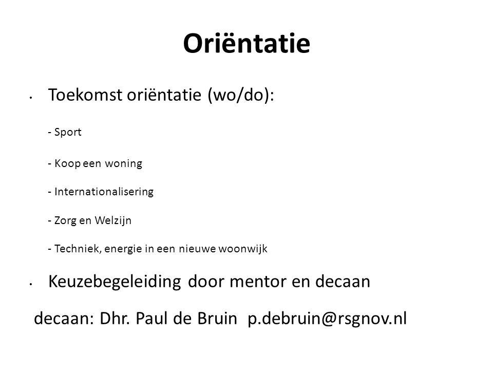 Oriëntatie Toekomst oriëntatie (wo/do): - Sport - Koop een woning - Internationalisering - Zorg en Welzijn - Techniek, energie in een nieuwe woonwijk Keuzebegeleiding door mentor en decaan decaan: Dhr.