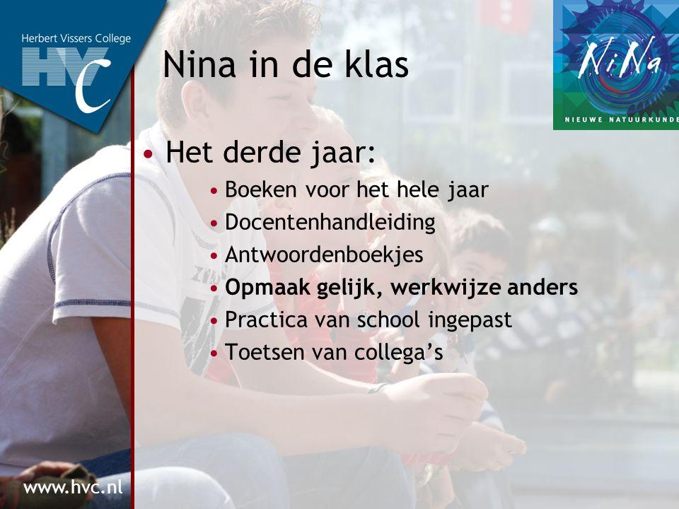 www.hvc.nl Nina in de klas Het derde jaar: Boeken voor het hele jaar Docentenhandleiding Antwoordenboekjes Opmaak gelijk, werkwijze anders Practica van school ingepast Toetsen van collega's