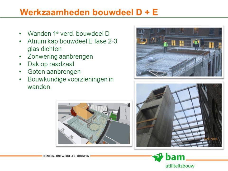 Werkzaamheden bouwdeel D + E 10 Wanden 1 e verd. bouwdeel D Atrium kap bouwdeel E fase 2-3 glas dichten Zonwering aanbrengen Dak op raadzaal Goten aan