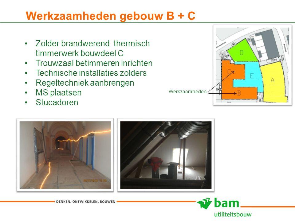 Werkzaamheden gebouw B + C 9 Zolder brandwerend thermisch timmerwerk bouwdeel C Trouwzaal betimmeren inrichten Technische installaties zolders Regelte