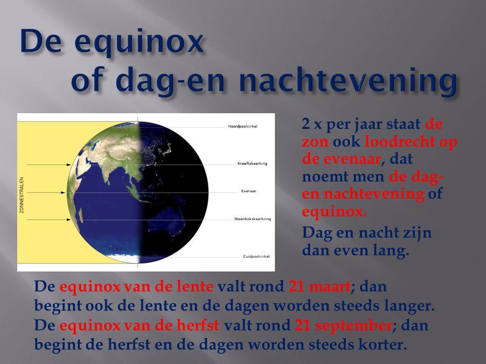 2 x per jaar staat de zon ook loodrecht op de evenaar, dat noemt men de dag- en nachtevening of equinox.