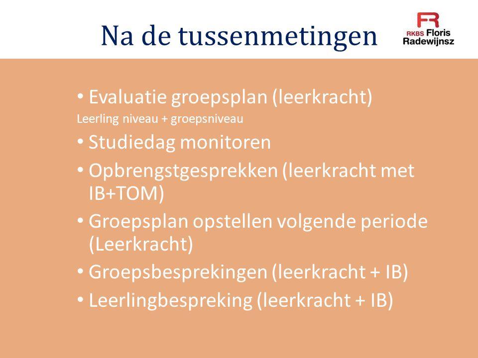 Na de tussenmetingen Evaluatie groepsplan (leerkracht) Leerling niveau + groepsniveau Studiedag monitoren Opbrengstgesprekken (leerkracht met IB+TOM)