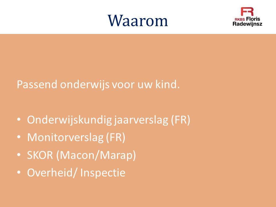 Waarom Passend onderwijs voor uw kind. Onderwijskundig jaarverslag (FR) Monitorverslag (FR) SKOR (Macon/Marap) Overheid/ Inspectie