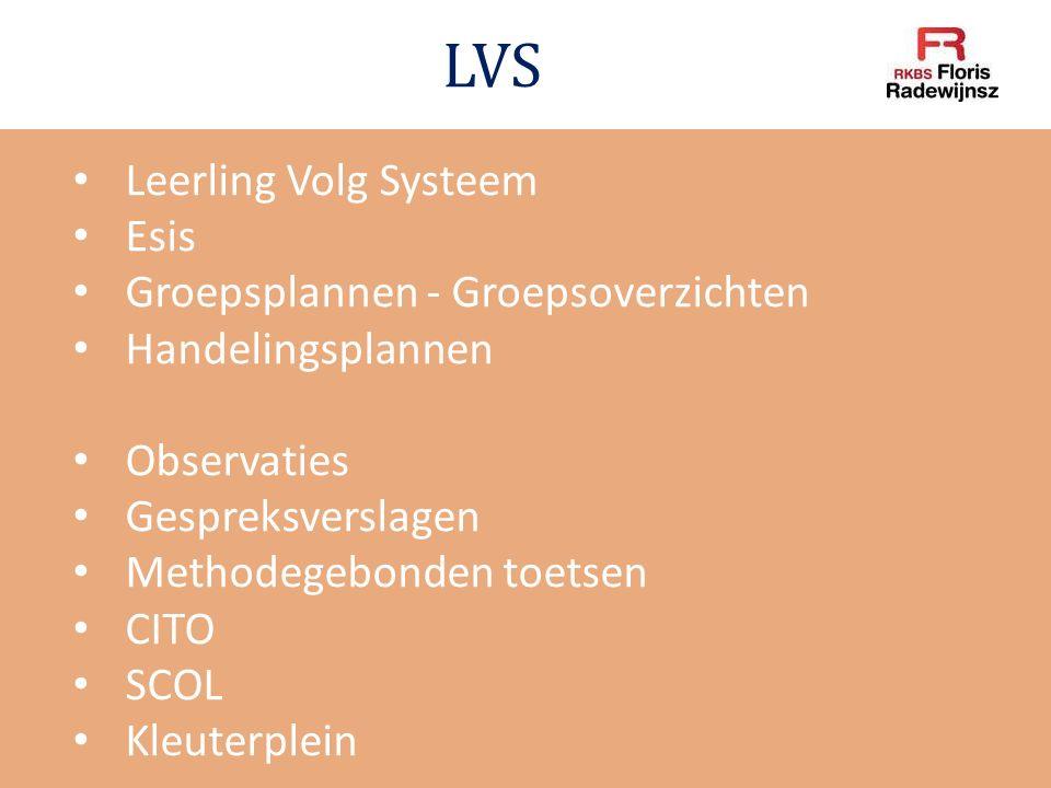 LVS Leerling Volg Systeem Esis Groepsplannen - Groepsoverzichten Handelingsplannen Observaties Gespreksverslagen Methodegebonden toetsen CITO SCOL Kle