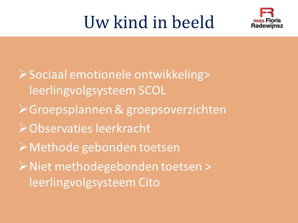 Uw kind in beeld  Sociaal emotionele ontwikkeling> leerlingvolgsysteem SCOL  Groepsplannen & groepsoverzichten  Observaties leerkracht  Methode ge