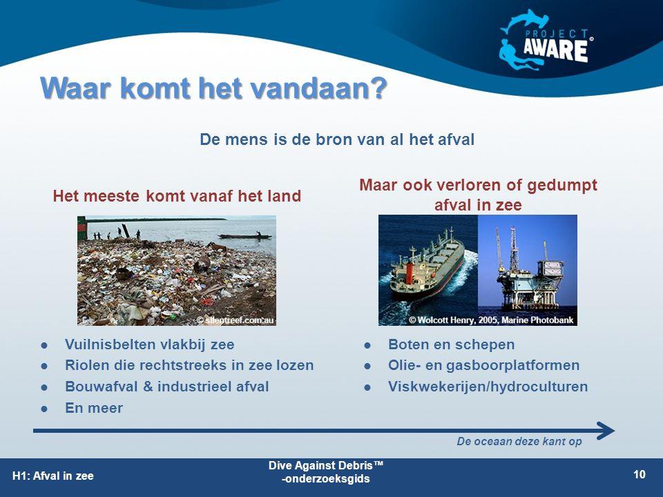 H1: Afval in zee Waar komt het vandaan? 10 Maar ook verloren of gedumpt afval in zee Het meeste komt vanaf het land De oceaan deze kant op Vuilnisbelt