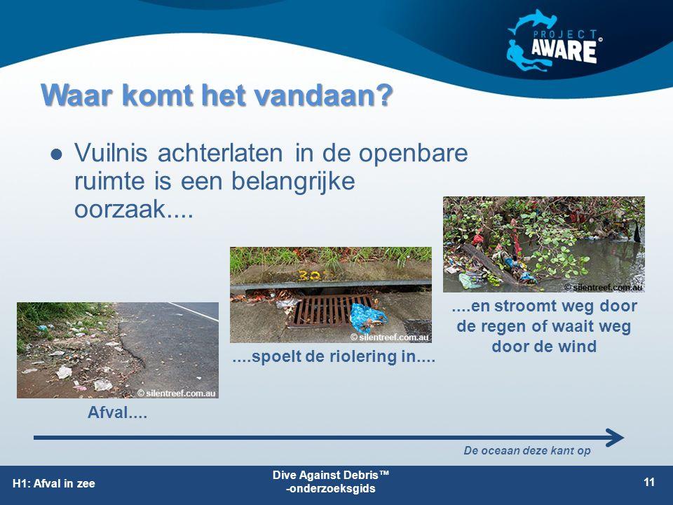 H1: Afval in zee Waar komt het vandaan? Vuilnis achterlaten in de openbare ruimte is een belangrijke oorzaak.... 11 Afval........spoelt de riolering i