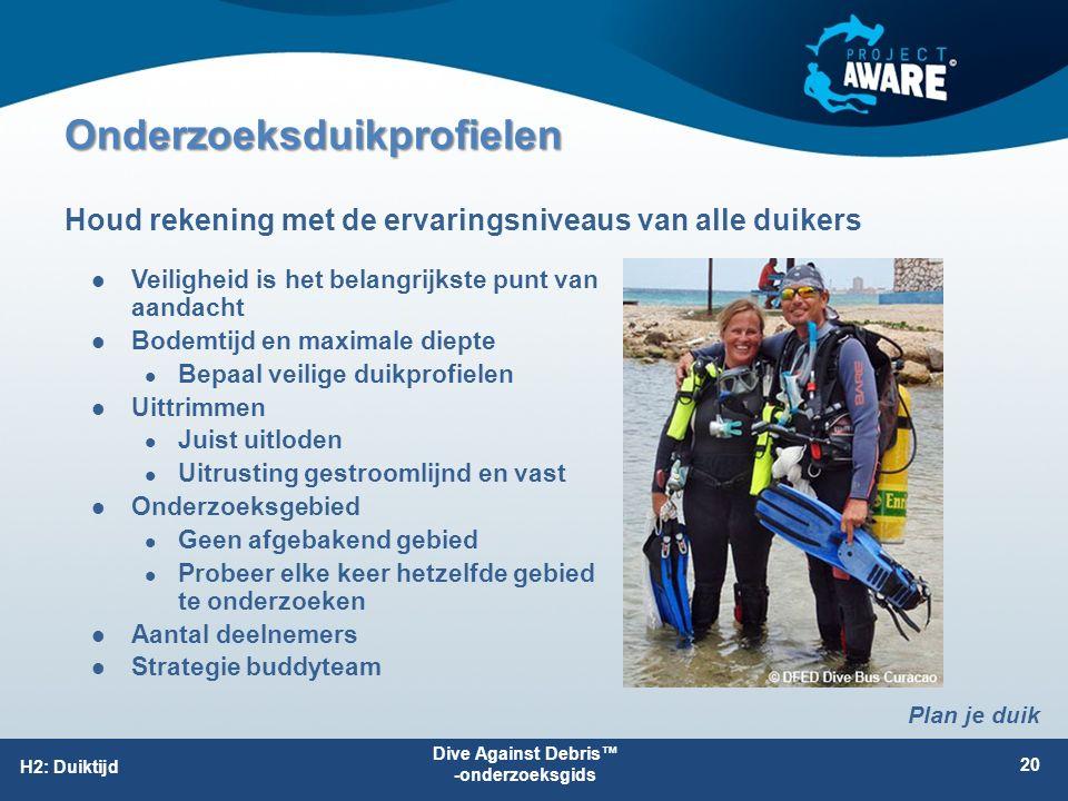 Onderzoeksduikprofielen Veiligheid is het belangrijkste punt van aandacht Bodemtijd en maximale diepte Bepaal veilige duikprofielen Uittrimmen Juist uitloden Uitrusting gestroomlijnd en vast Onderzoeksgebied Geen afgebakend gebied Probeer elke keer hetzelfde gebied te onderzoeken Aantal deelnemers Strategie buddyteam Houd rekening met de ervaringsniveaus van alle duikers Dive Against Debris™ -onderzoeksgids 20 H2: Duiktijd Plan je duik