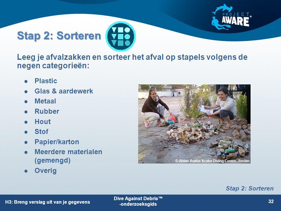 Stap 2: Sorteren Plastic Glas & aardewerk Metaal Rubber Hout Stof Papier/karton Meerdere materialen (gemengd) Overig Leeg je afvalzakken en sorteer he