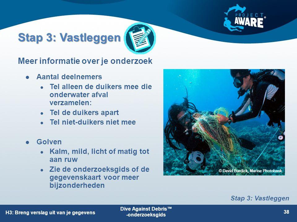 Aantal deelnemers Tel alleen de duikers mee die onderwater afval verzamelen: Tel de duikers apart Tel niet-duikers niet mee Golven Kalm, mild, licht o