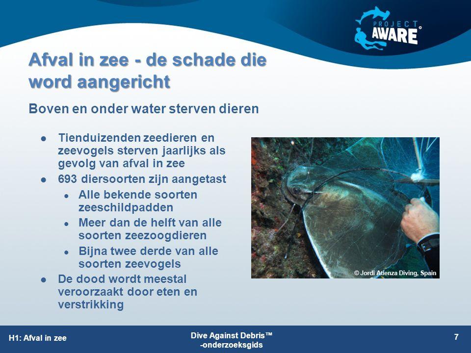 Afval in zee - de schade die word aangericht Grote stukken afval beschadigen de riffen Plastic zakken verstikken het zeegras en de mangroves Visnetten en vislijnen snijden in de koralen, sponzen en anemonen Schade aan het milieu H1: Afval in zee 8 Alleen duikers beschikken over de vaardigheden om verslag uit te brengen van afval onderwater en om afval te verwijderen Direct gevolg voor de mens Het ziet er lelijk uit Ongezond Kostbaar om te verwijderen Dive Against Debris™ -onderzoeksgids