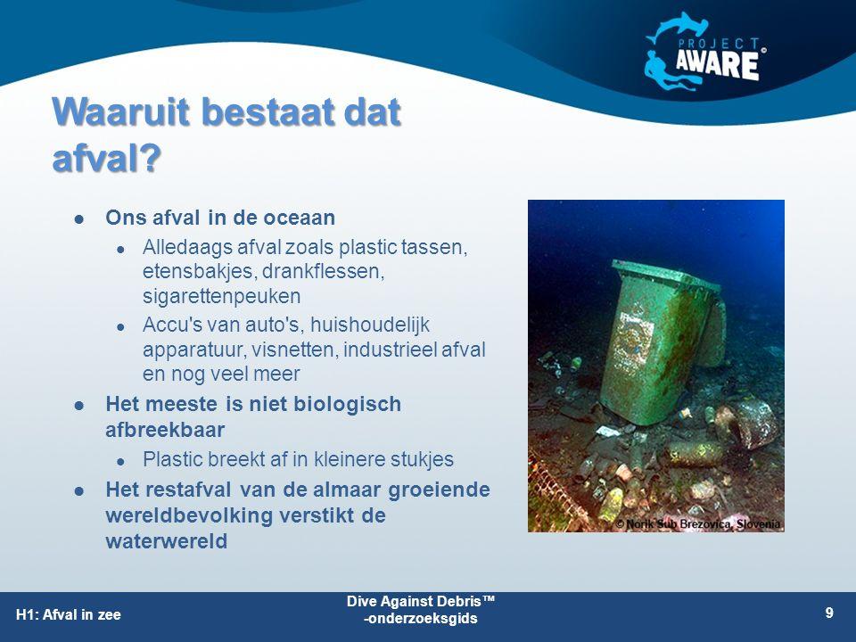 Waaruit bestaat dat afval? Ons afval in de oceaan Alledaags afval zoals plastic tassen, etensbakjes, drankflessen, sigarettenpeuken Accu's van auto's,