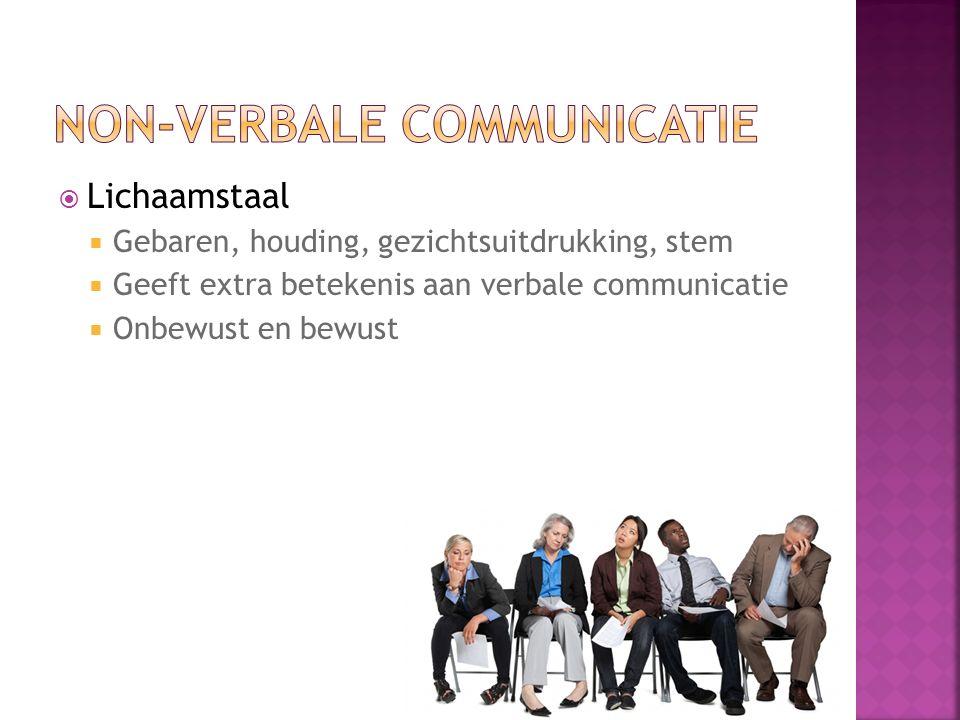  Lichaamstaal  Gebaren, houding, gezichtsuitdrukking, stem  Geeft extra betekenis aan verbale communicatie  Onbewust en bewust