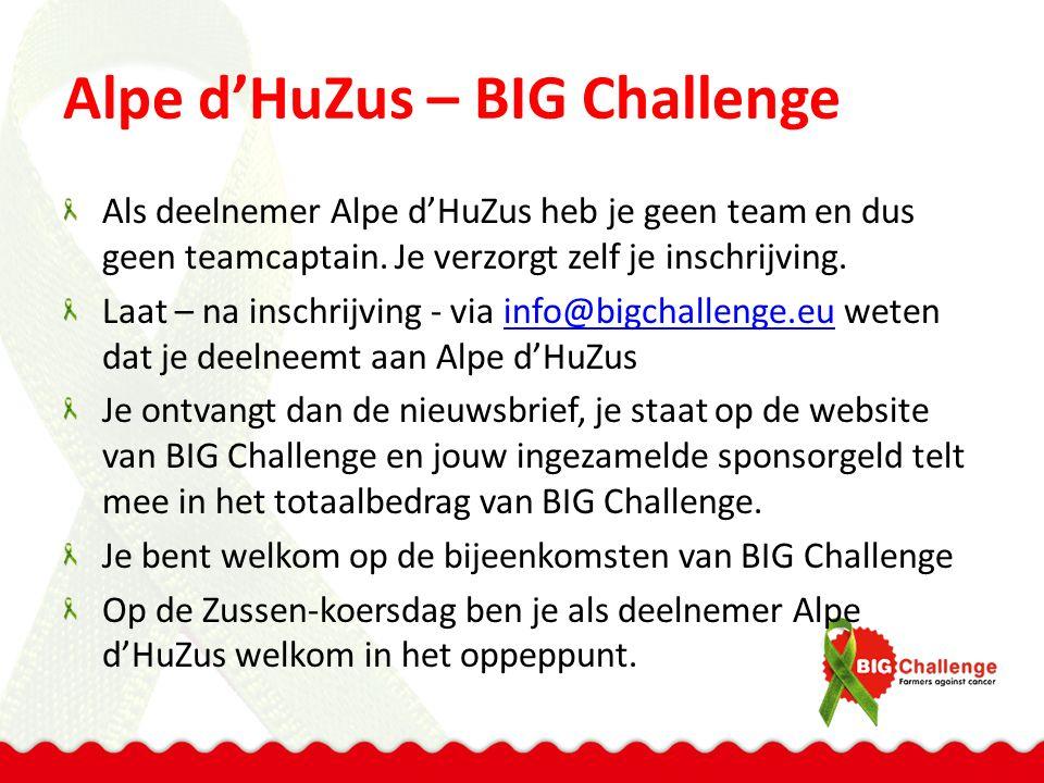 Alpe d'HuZus – BIG Challenge Als deelnemer Alpe d'HuZus heb je geen team en dus geen teamcaptain.