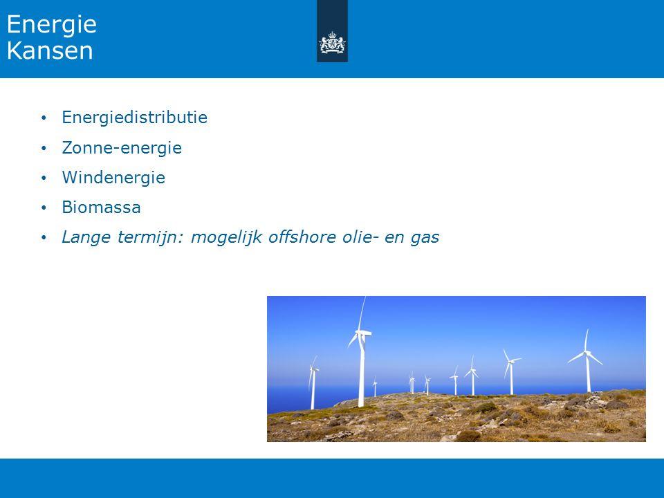 Energie Kansen Energiedistributie Zonne-energie Windenergie Biomassa Lange termijn: mogelijk offshore olie- en gas