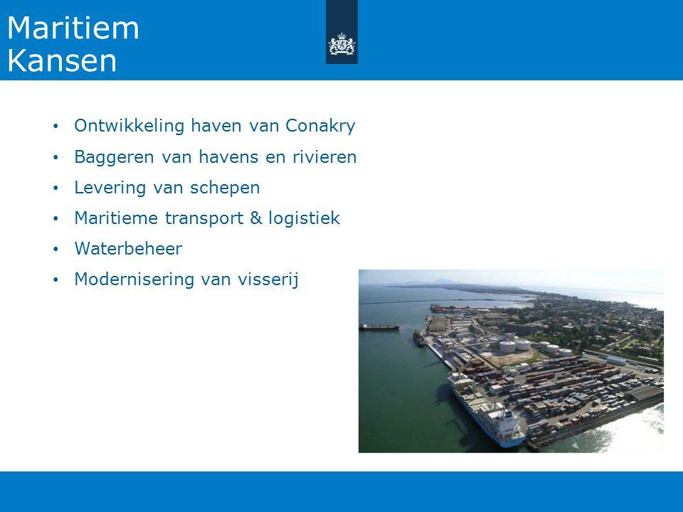 Maritiem Kansen Ontwikkeling haven van Conakry Baggeren van havens en rivieren Levering van schepen Maritieme transport & logistiek Waterbeheer Modernisering van visserij