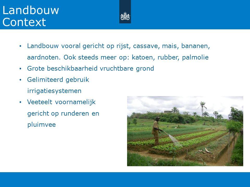 Landbouw Context Landbouw vooral gericht op rijst, cassave, mais, bananen, aardnoten. Ook steeds meer op: katoen, rubber, palmolie Grote beschikbaarhe