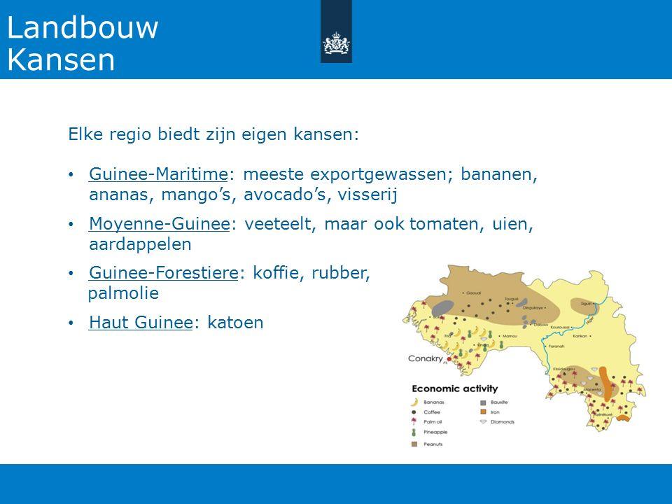 Landbouw Kansen Elke regio biedt zijn eigen kansen: Guinee-Maritime: meeste exportgewassen; bananen, ananas, mango's, avocado's, visserij Moyenne-Guin
