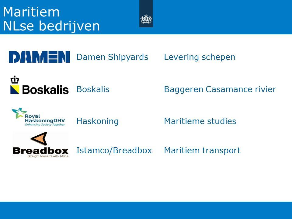 Maritiem NLse bedrijven Damen Shipyards Levering schepen Boskalis Baggeren Casamance rivier Haskoning Maritieme studies Istamco/Breadbox Maritiem transport