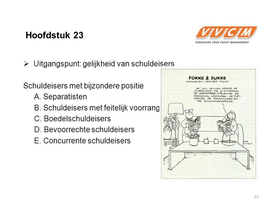 Hoofdstuk 23  Uitgangspunt: gelijkheid van schuldeisers Schuldeisers met bijzondere positie A. Separatisten B. Schuldeisers met feitelijk voorrang C.