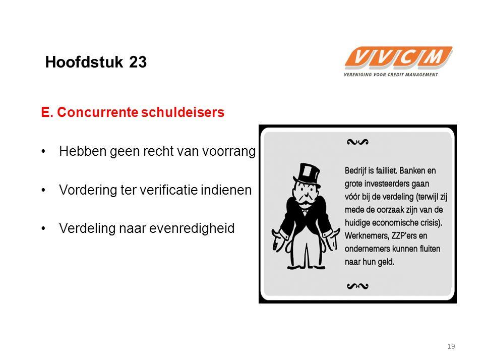 Hoofdstuk 23 E. Concurrente schuldeisers Hebben geen recht van voorrang Vordering ter verificatie indienen Verdeling naar evenredigheid 19