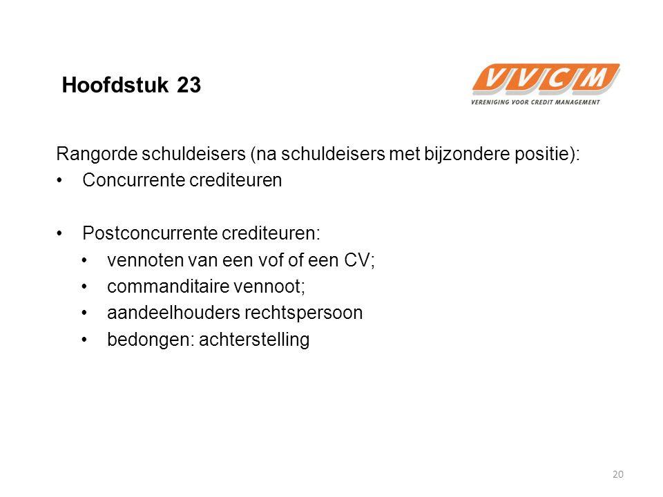 Hoofdstuk 23 Rangorde schuldeisers (na schuldeisers met bijzondere positie): Concurrente crediteuren Postconcurrente crediteuren: vennoten van een vof