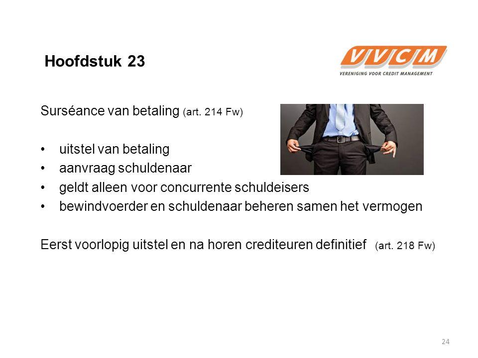 Hoofdstuk 23 Surséance van betaling (art. 214 Fw) uitstel van betaling aanvraag schuldenaar geldt alleen voor concurrente schuldeisers bewindvoerder e