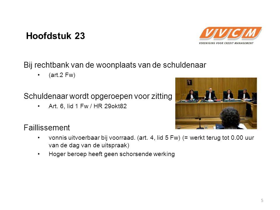 Hoofdstuk 23 Bij rechtbank van de woonplaats van de schuldenaar (art.2 Fw) Schuldenaar wordt opgeroepen voor zitting Art. 6, lid 1 Fw / HR 29okt82 Fai