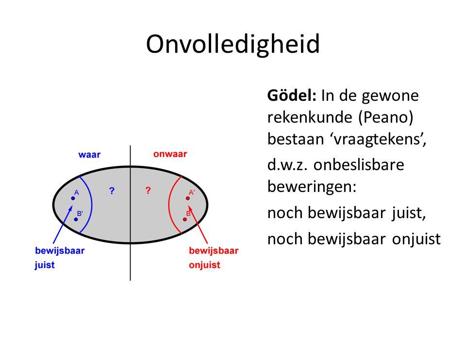 Gödel: In de gewone rekenkunde (Peano) bestaan 'vraagtekens', d.w.z. onbeslisbare beweringen: noch bewijsbaar juist, noch bewijsbaar onjuist
