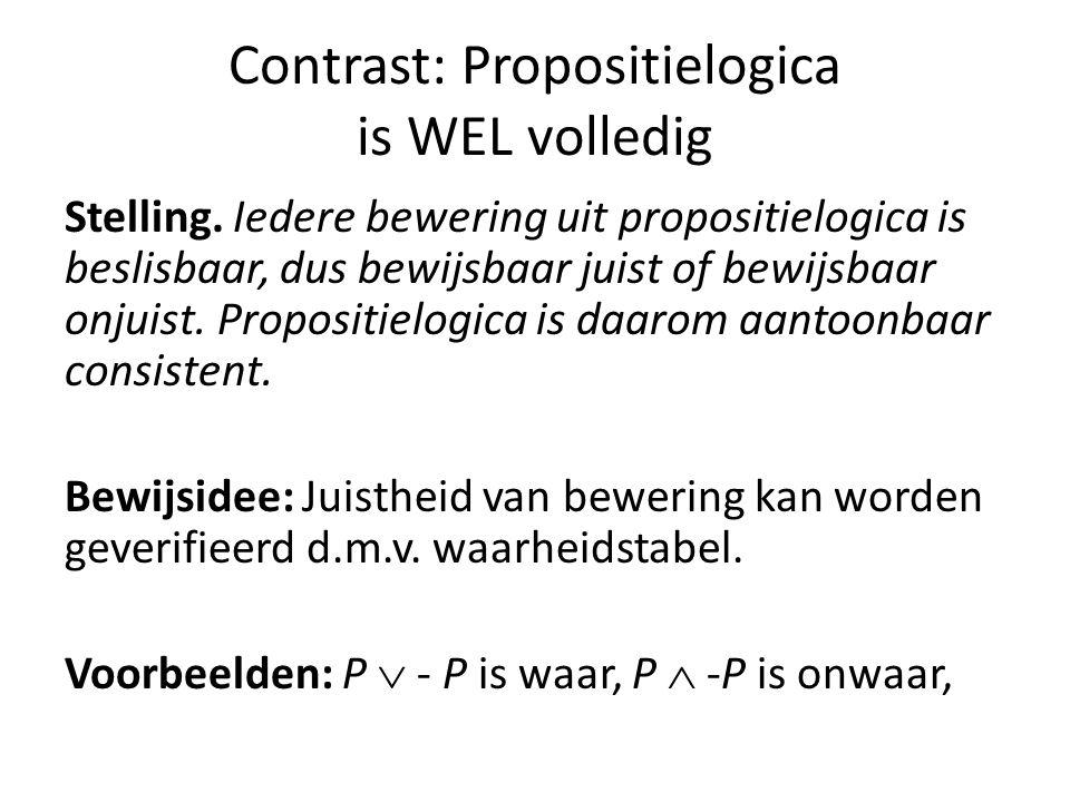 Contrast: Propositielogica is WEL volledig Stelling.