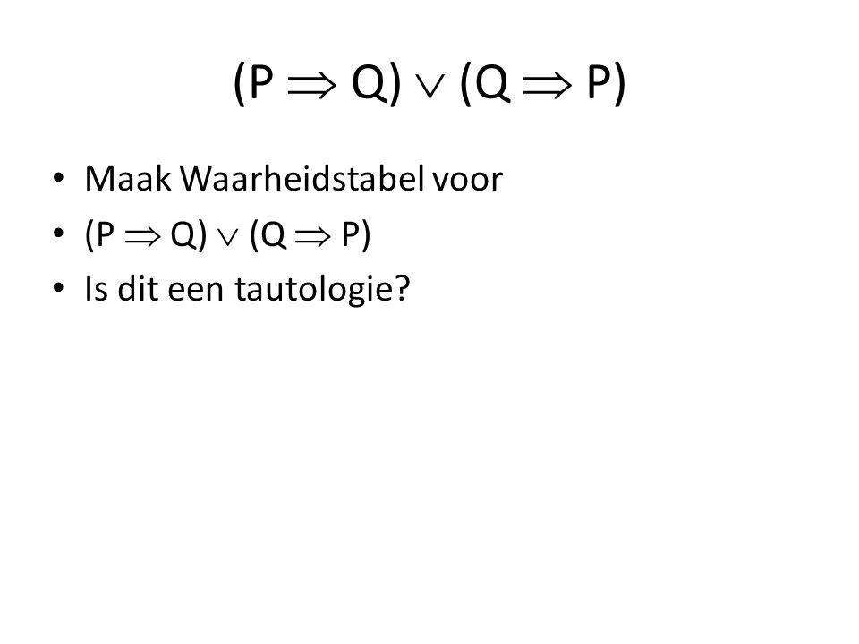 (P  Q)  (Q  P) Maak Waarheidstabel voor (P  Q)  (Q  P) Is dit een tautologie