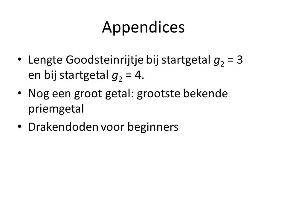 Appendices Lengte Goodsteinrijtje bij startgetal g 2 = 3 en bij startgetal g 2 = 4. Nog een groot getal: grootste bekende priemgetal Drakendoden voor