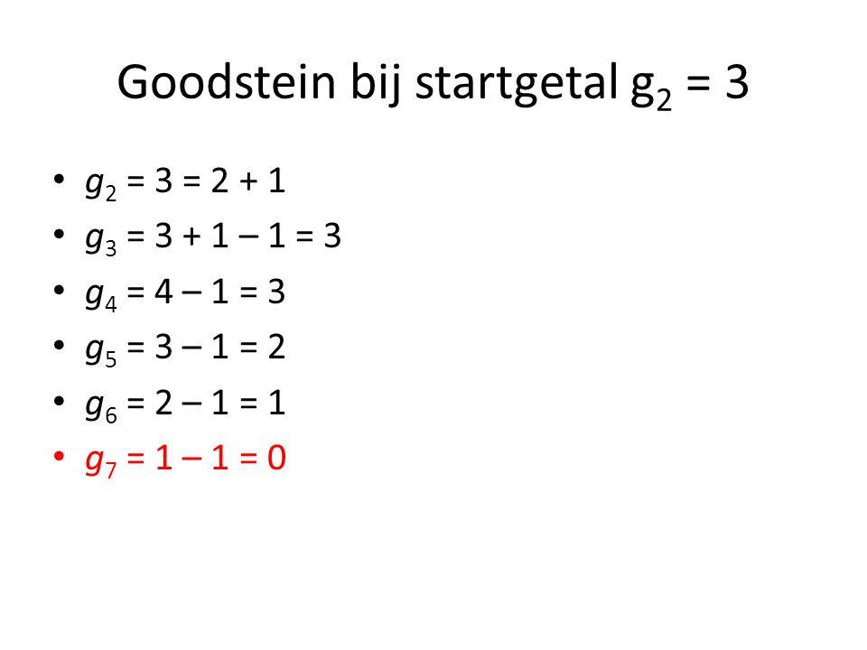 Goodstein bij startgetal g 2 = 3 g 2 = 3 = 2 + 1 g 3 = 3 + 1 – 1 = 3 g 4 = 4 – 1 = 3 g 5 = 3 – 1 = 2 g 6 = 2 – 1 = 1 g 7 = 1 – 1 = 0